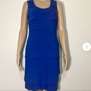 CALVIN KLEIN ROYAL BLUE RUFFLE KNEE LENGTH DRESS